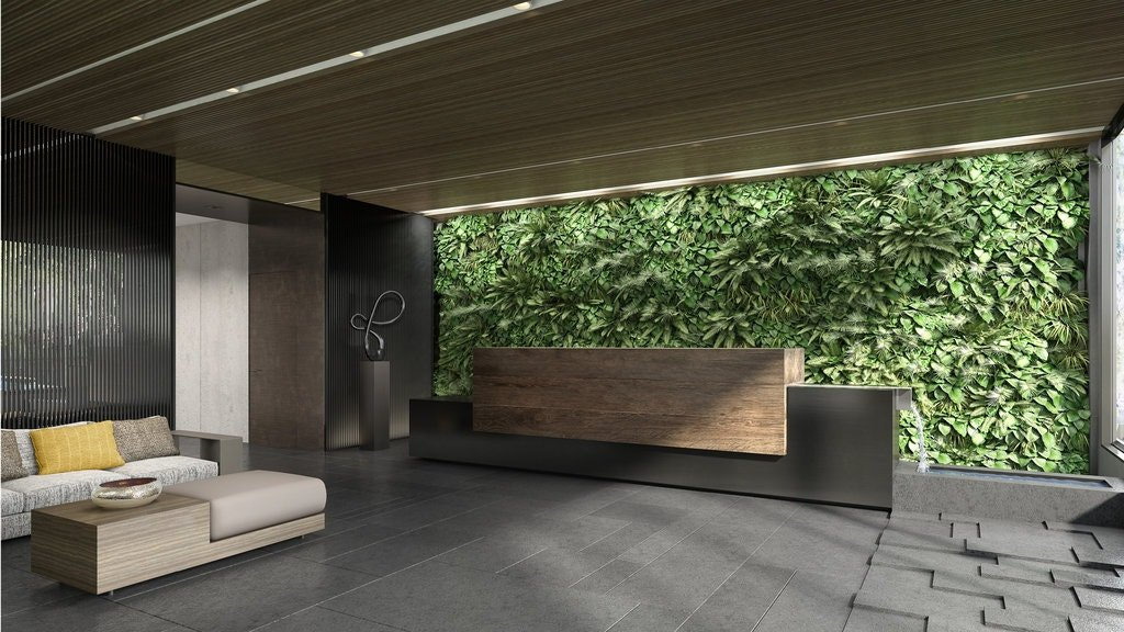 A rendering of Citizen360 at 360 East 89th Street shows a green wall behind a reception desk, with an integrated scupper that splashes water into a pool.CreditRedundant Pixel