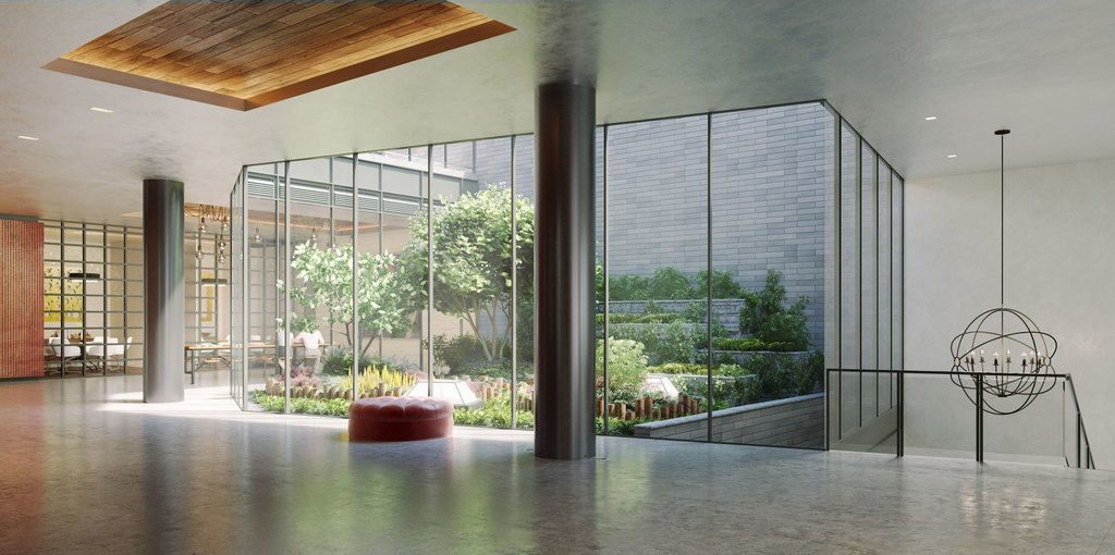 A rendering shows the lobby with an interior garden as its centerpiece, planned for 525 West 52nd Street.