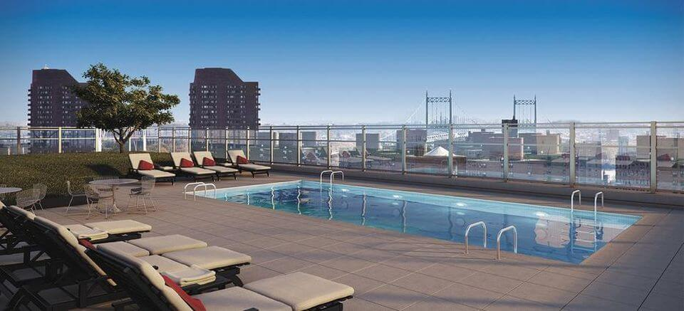 The building's heated 20-by-40-foot pool sits 21 stories into the sky.